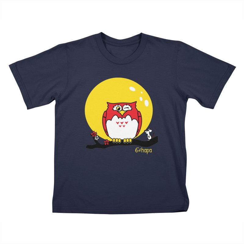 Fukurou with Mouse and Moon Kids T-Shirt by 6degreesofhapa's Artist Shop