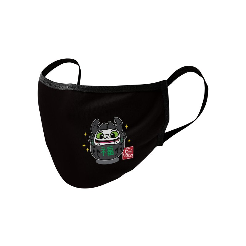 Daruma Friendly Dragon Accessories Face Mask by 6degreesofhapa's Artist Shop