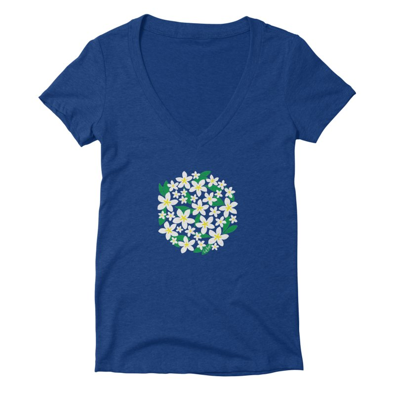 Plumeria in the Round Women's V-Neck by 6degreesofhapa's Artist Shop