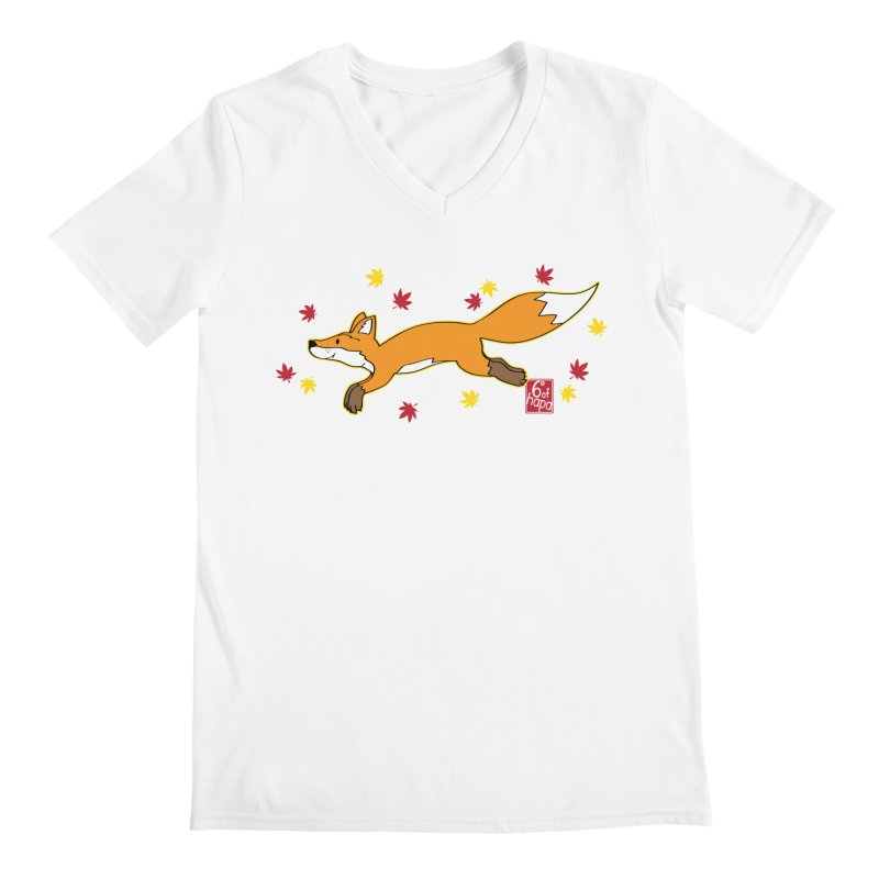 Leaping Fox Men's V-Neck by 6degreesofhapa's Artist Shop