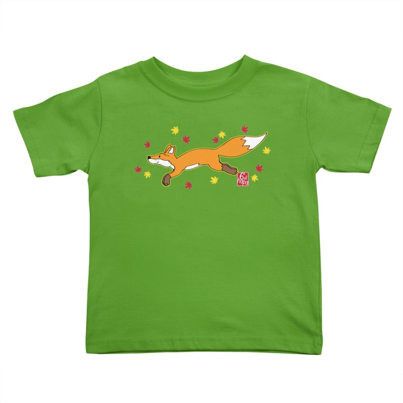Leaping Fox Kids Toddler T-Shirt by 6degreesofhapa's Artist Shop