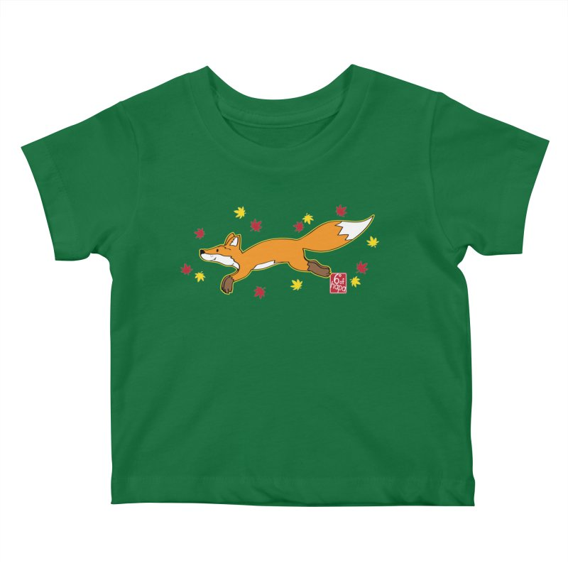 Leaping Fox Kids Baby T-Shirt by 6degreesofhapa's Artist Shop