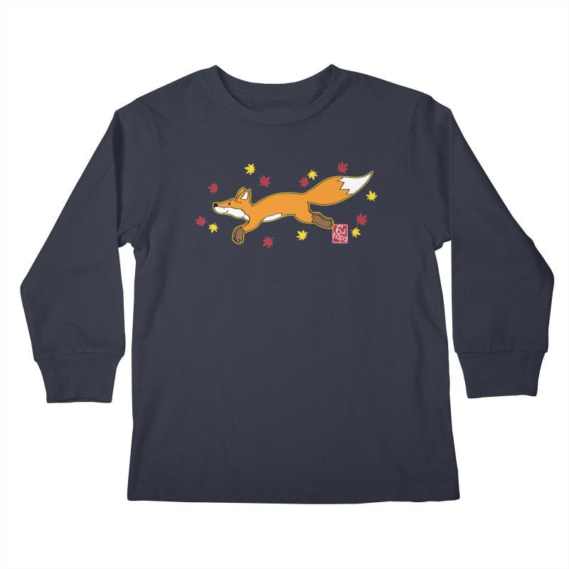 Leaping Fox Kids Longsleeve T-Shirt by 6degreesofhapa's Artist Shop