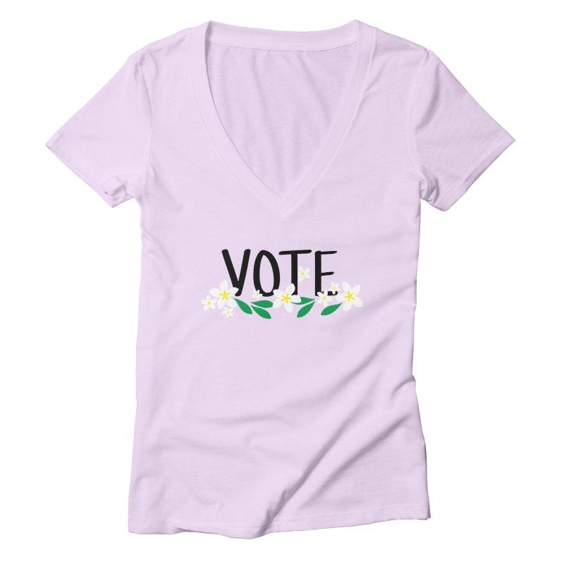 VOTE - Plumerias Women's V-Neck by 6degreesofhapa's Artist Shop