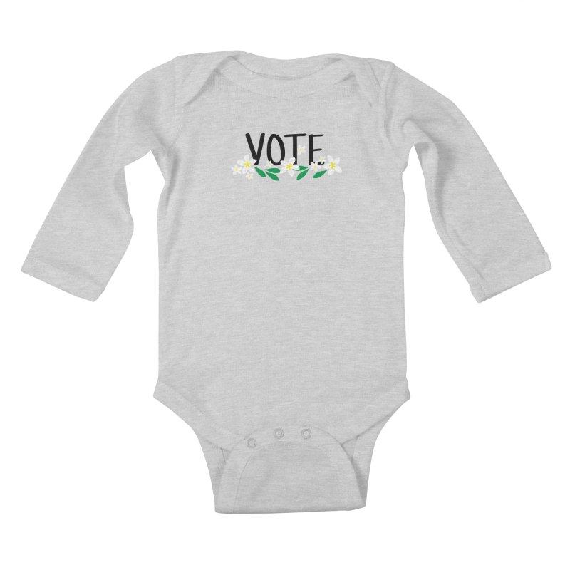 VOTE - Plumerias Kids Baby Longsleeve Bodysuit by 6degreesofhapa's Artist Shop