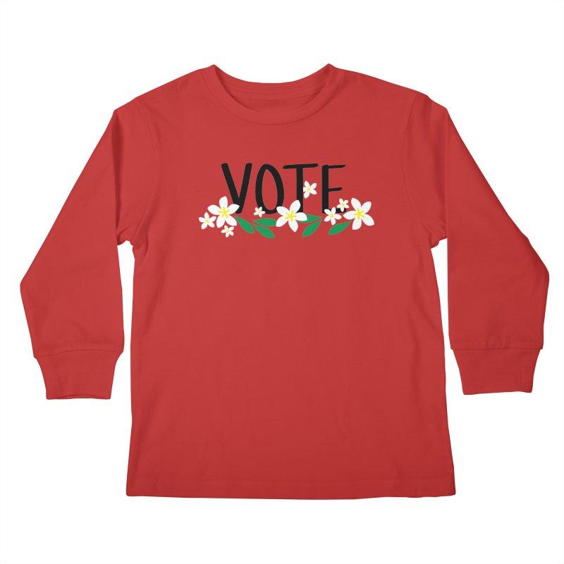 VOTE - Plumerias Kids Longsleeve T-Shirt by 6degreesofhapa's Artist Shop