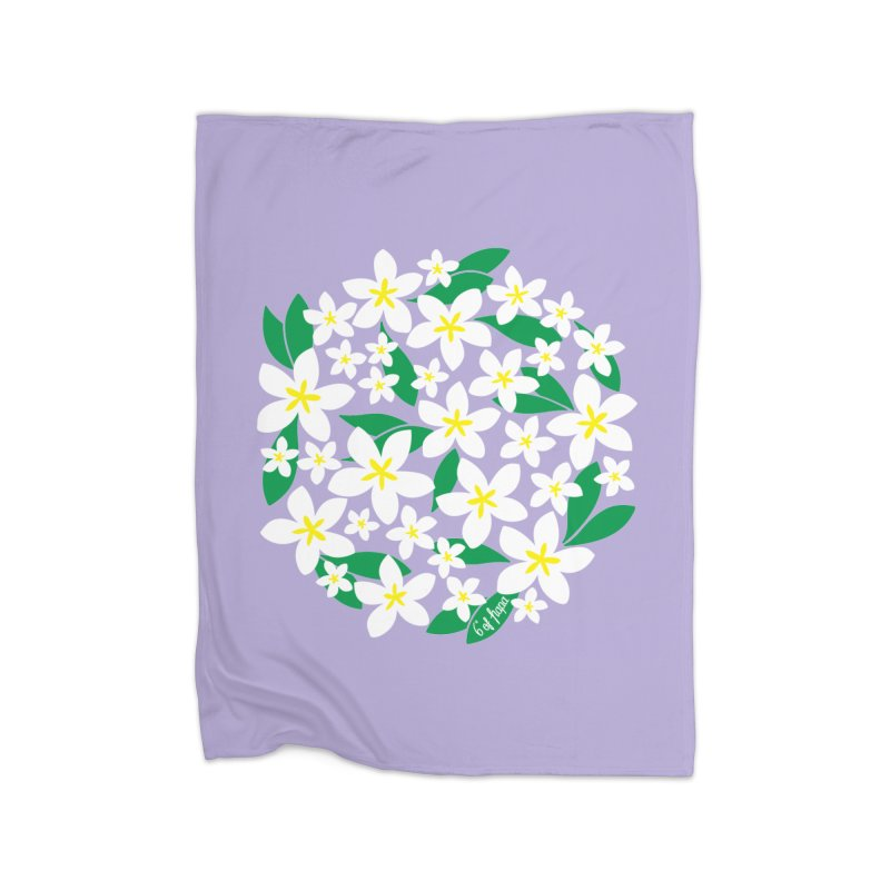Plumeria in the Round - Purple Background Home Blanket by 6degreesofhapa's Artist Shop