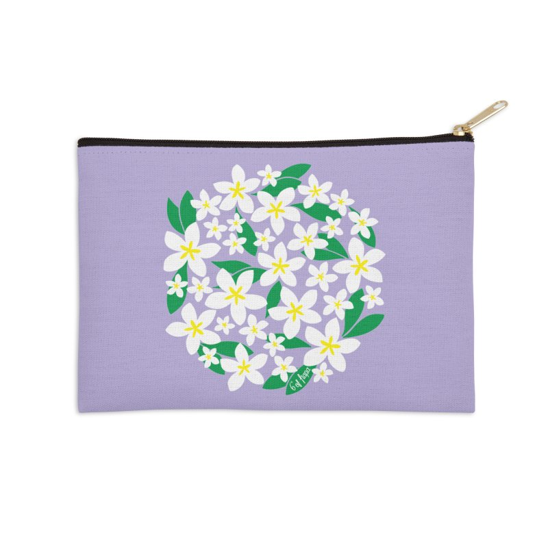 Plumeria in the Round - Purple Background Accessories Zip Pouch by 6degreesofhapa's Artist Shop