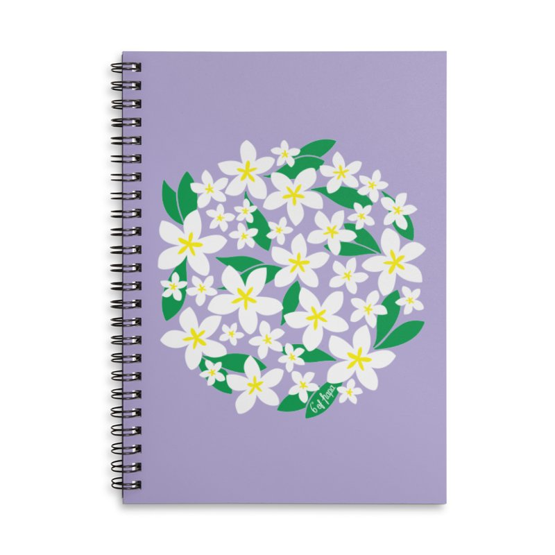 Plumeria in the Round - Purple Background Accessories Notebook by 6degreesofhapa's Artist Shop