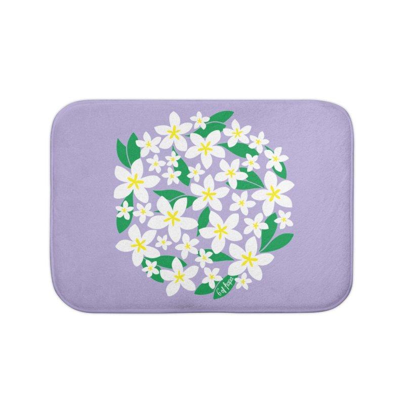 Plumeria in the Round - Purple Background Home Bath Mat by 6degreesofhapa's Artist Shop