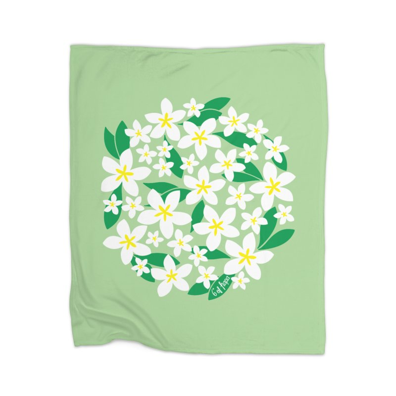 Plumeria in the Round - Green Background Home Blanket by 6degreesofhapa's Artist Shop
