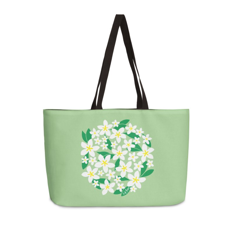 Plumeria in the Round - Green Background Accessories Bag by 6degreesofhapa's Artist Shop
