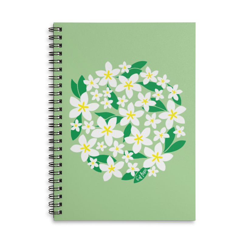 Plumeria in the Round - Green Background Accessories Notebook by 6degreesofhapa's Artist Shop