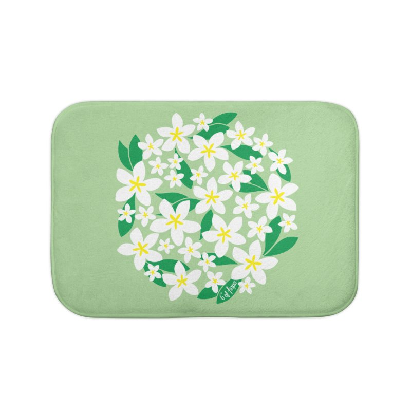 Plumeria in the Round - Green Background Home Bath Mat by 6degreesofhapa's Artist Shop
