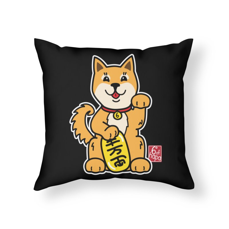 Maneki Inu - Aka Home Throw Pillow by 6degreesofhapa's Artist Shop