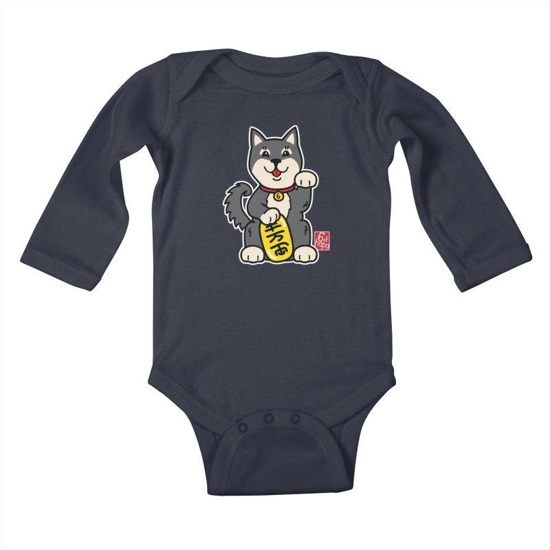 Maneki Inu - Kuro Kids Baby Longsleeve Bodysuit by 6degreesofhapa's Artist Shop