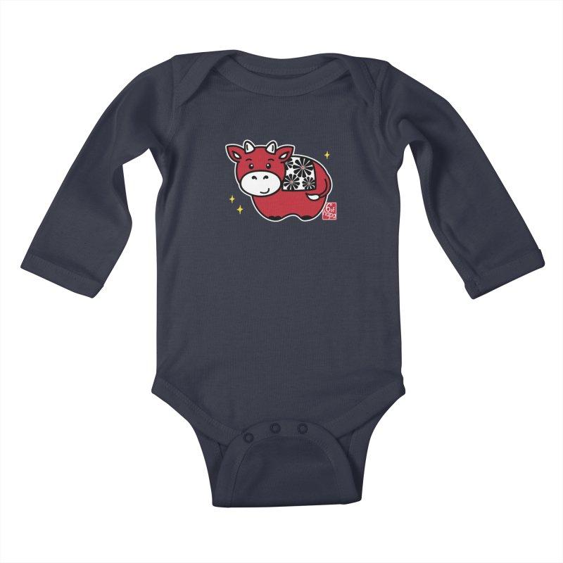 Year of the Ox - Aka Kids Baby Longsleeve Bodysuit by 6degreesofhapa's Artist Shop