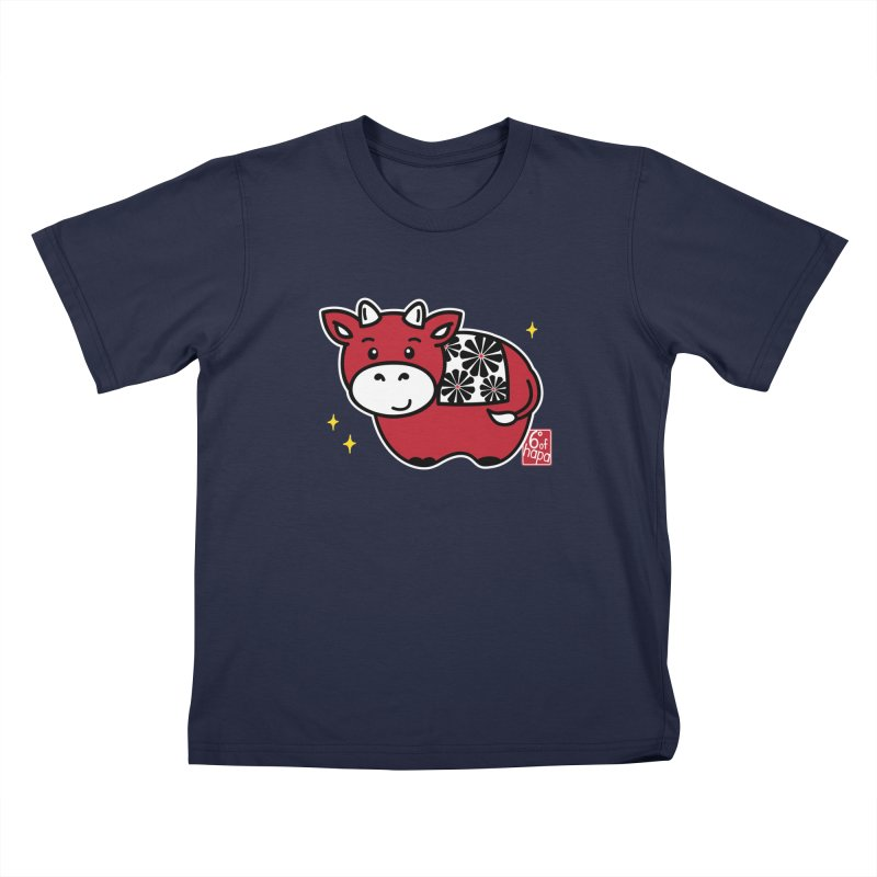 Year of the Ox - Aka Kids T-Shirt by 6degreesofhapa's Artist Shop