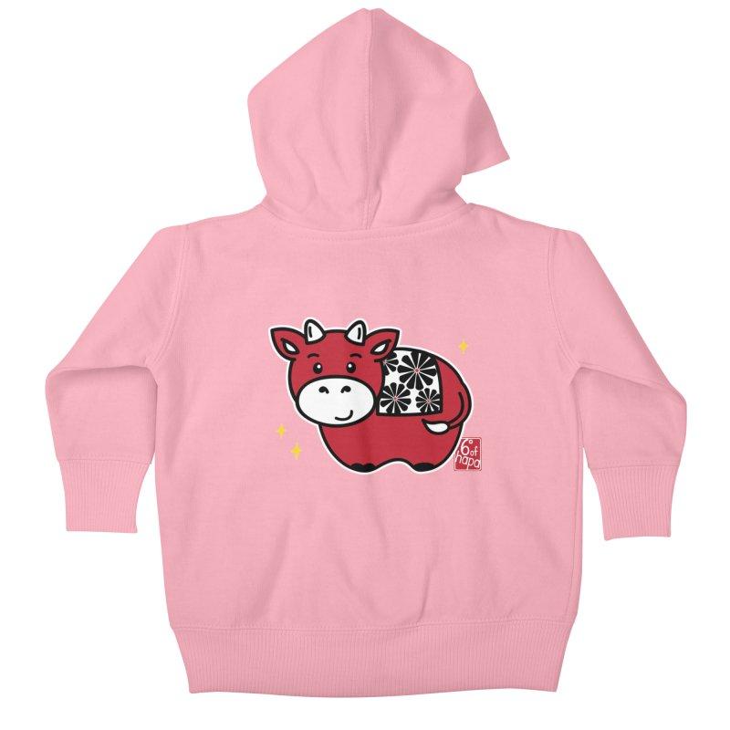 Year of the Ox - Aka Kids Baby Zip-Up Hoody by 6degreesofhapa's Artist Shop