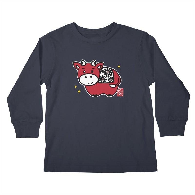 Year of the Ox - Aka Kids Longsleeve T-Shirt by 6degreesofhapa's Artist Shop