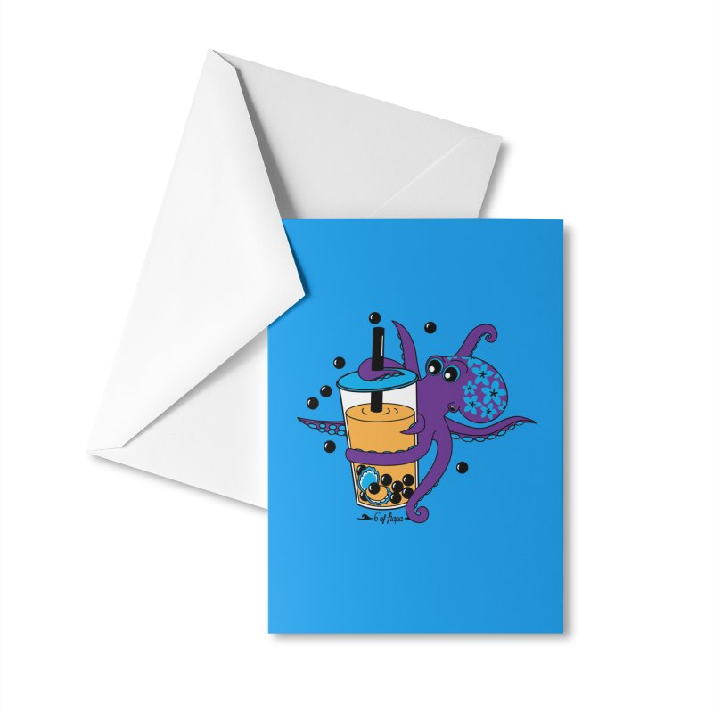 Boba Tea Octopus Accessories Greeting Card by 6degreesofhapa's Artist Shop