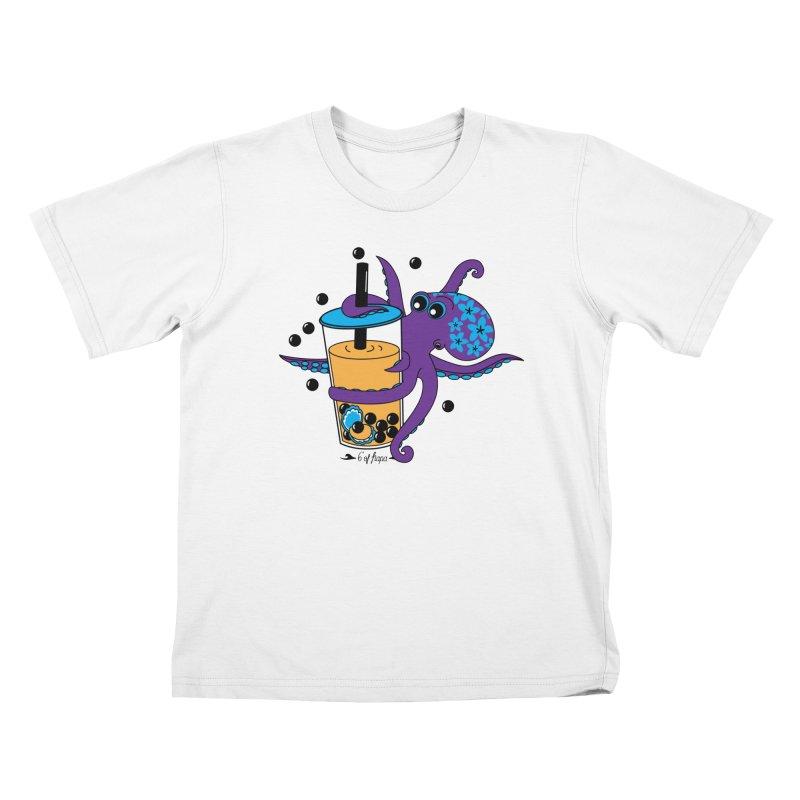 Boba Tea Octopus Kids T-Shirt by 6degreesofhapa's Artist Shop