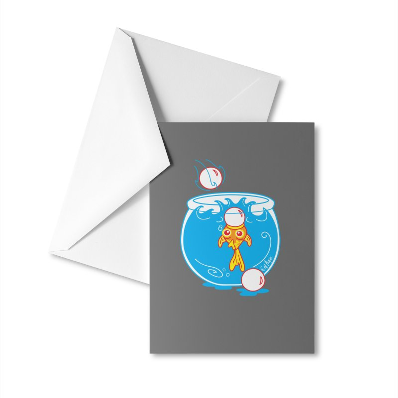 Ping Pong Goldfish Accessories Greeting Card by 6degreesofhapa's Artist Shop