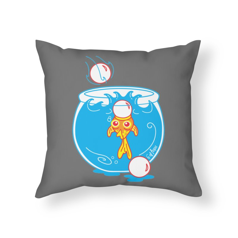 Ping Pong Goldfish Home Throw Pillow by 6degreesofhapa's Artist Shop