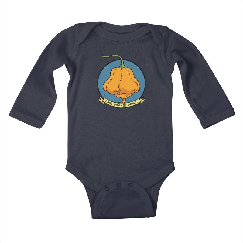 7 Pot Orange Primo Kids Baby Longsleeve Bodysuit by 7 Pot Club