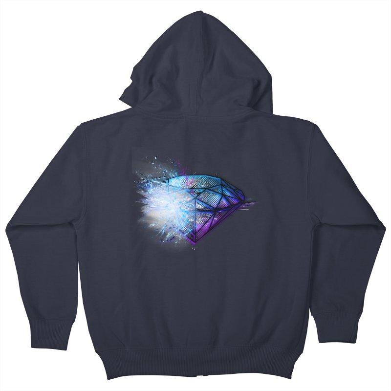 Diamonds Kids Zip-Up Hoody by 7sixes's Artist Shop