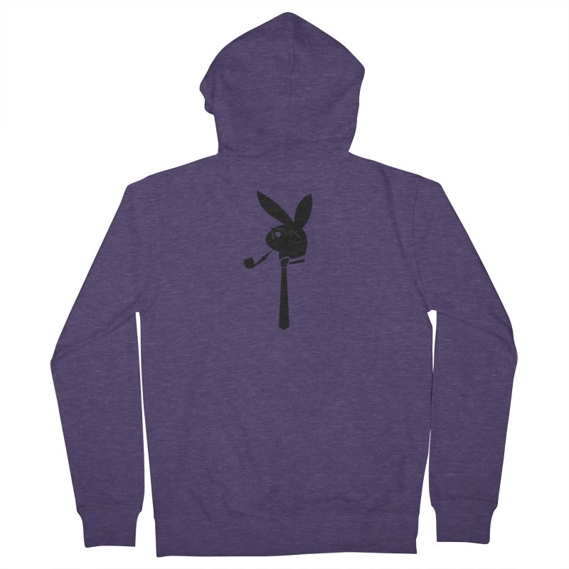 Mr. Bunny (Black) Men's French Terry Zip-Up Hoody by 7thSin Apparel