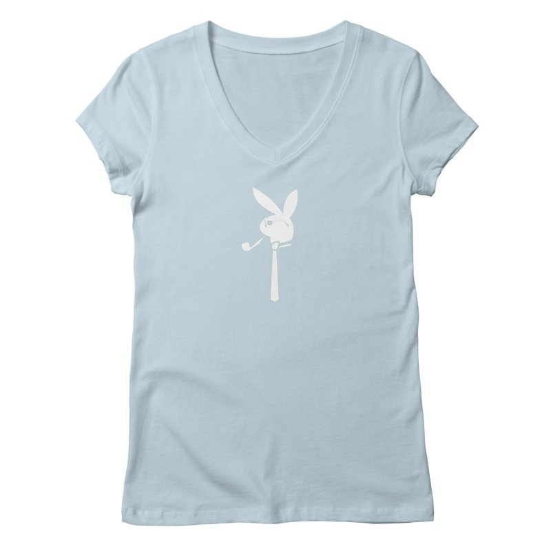 Mr. Bunny (White) Women's Regular V-Neck by 7thSin Apparel