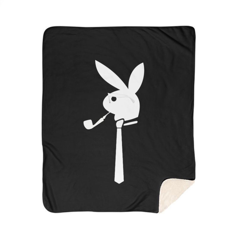 Mr. Bunny (White) Home Sherpa Blanket Blanket by 7thSin Apparel