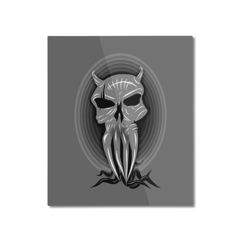 Greyskull Home Mounted Aluminum Print by 7thSin Apparel