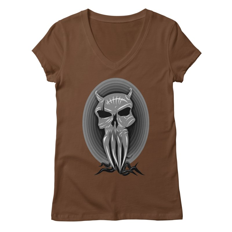 Greyskull Women's Regular V-Neck by 7thSin Apparel
