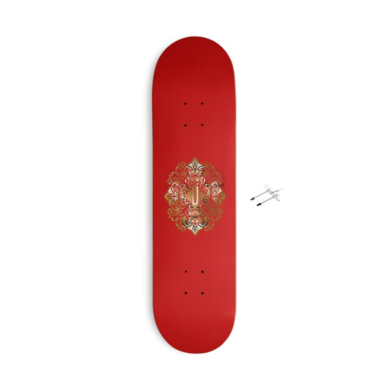 Gothic Red Accessories With Hanging Hardware Skateboard by 7thSin Apparel