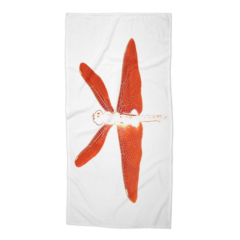 Dragonfly (Orange) Accessories Beach Towel by 7thSin Apparel