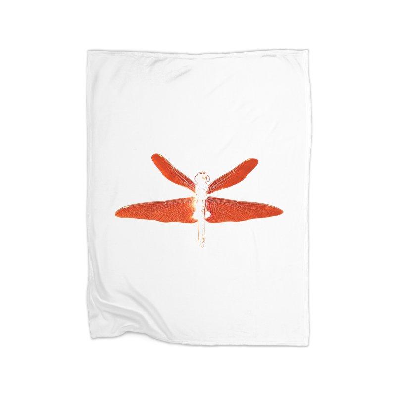 Dragonfly (Orange) Home Fleece Blanket Blanket by 7thSin Apparel