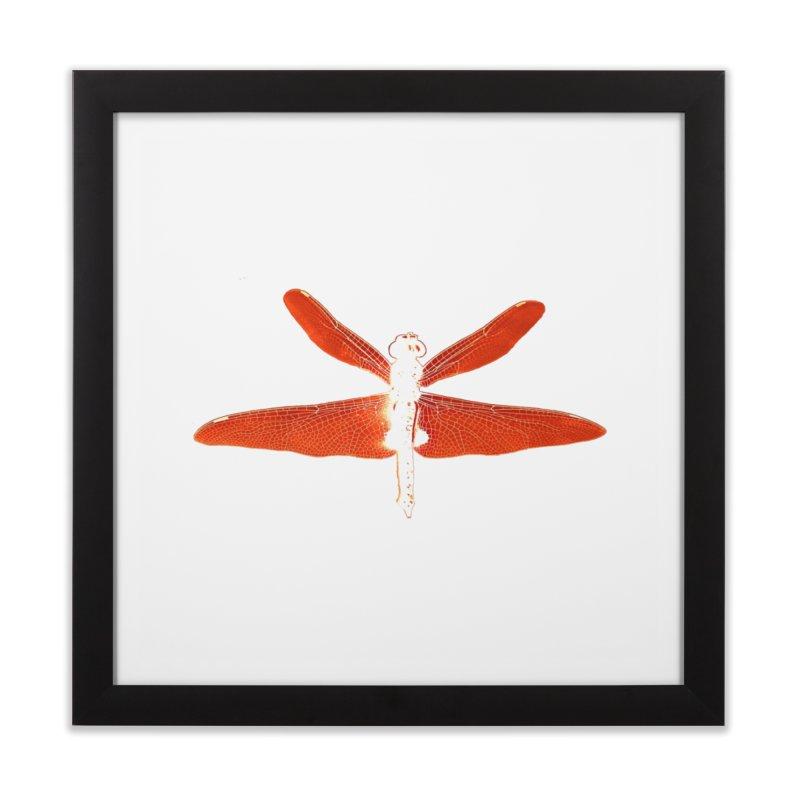 Dragonfly (Orange) Home Framed Fine Art Print by 7thSin Apparel