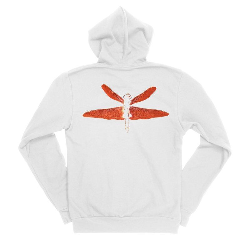 Dragonfly (Orange) Women's Sponge Fleece Zip-Up Hoody by 7thSin Apparel