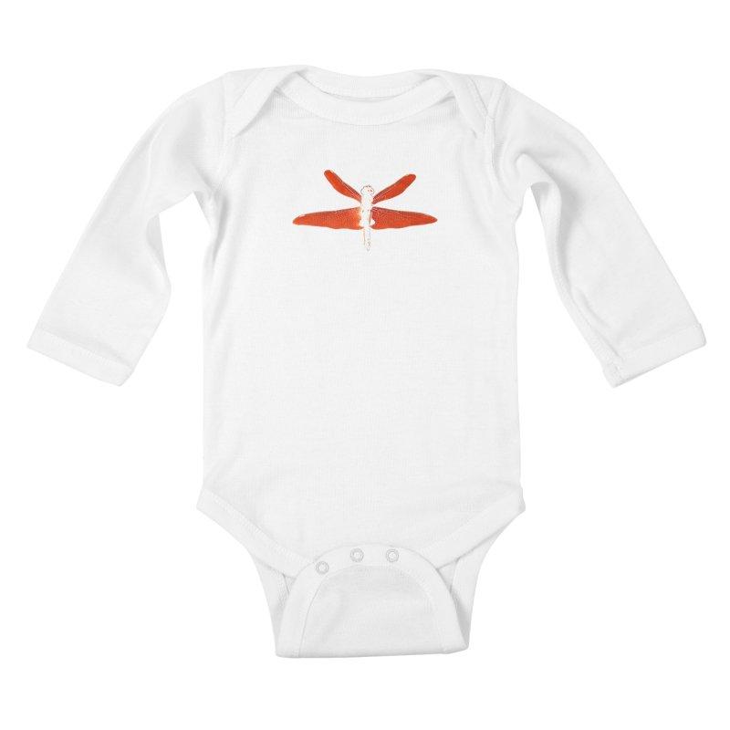Dragonfly (Orange) Kids Baby Longsleeve Bodysuit by 7thSin Apparel