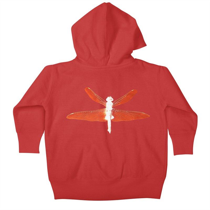 Dragonfly (Orange) Kids Baby Zip-Up Hoody by 7thSin Apparel