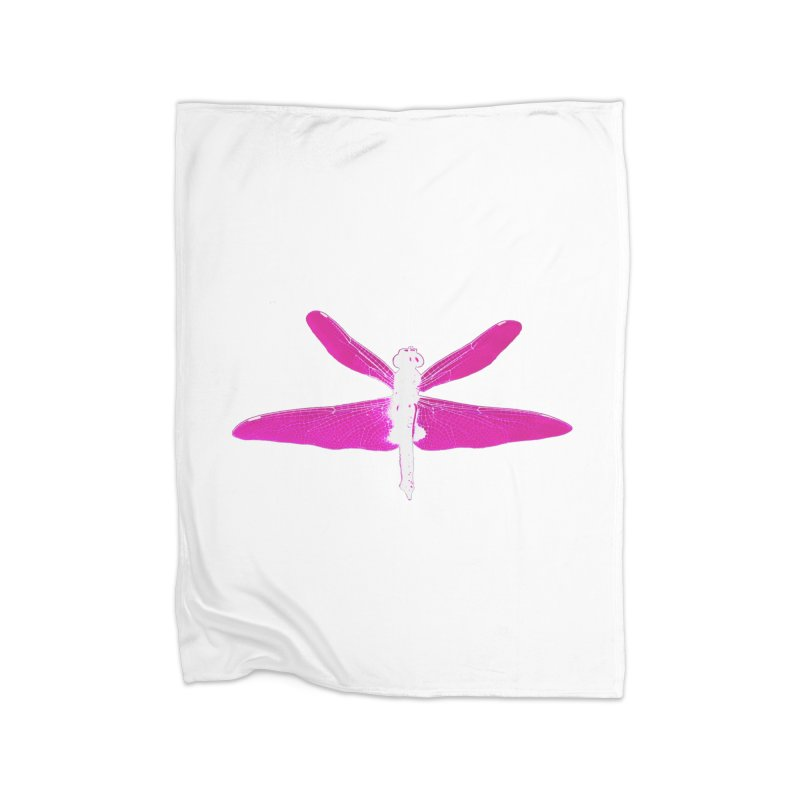Dragonfly (Pink) Home Fleece Blanket Blanket by 7thSin Apparel