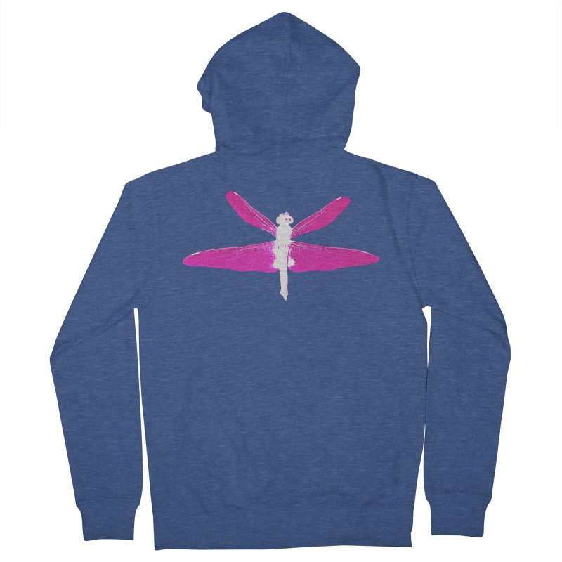 Dragonfly (Pink) Women's French Terry Zip-Up Hoody by 7thSin Apparel