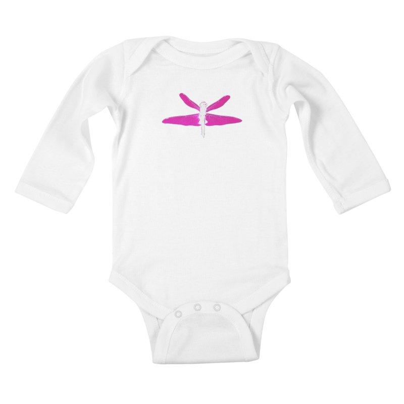 Dragonfly (Pink) Kids Baby Longsleeve Bodysuit by 7thSin Apparel
