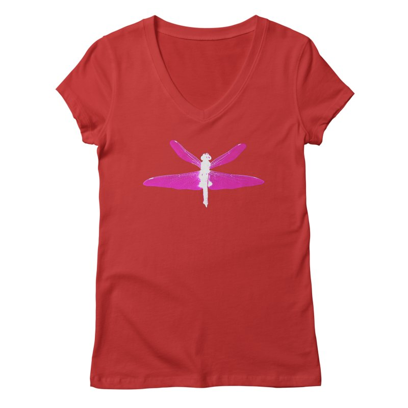 Dragonfly (Pink) Women's Regular V-Neck by 7thSin Apparel