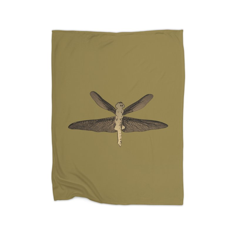 Dragonfly (Vintage) Home Fleece Blanket Blanket by 7thSin Apparel