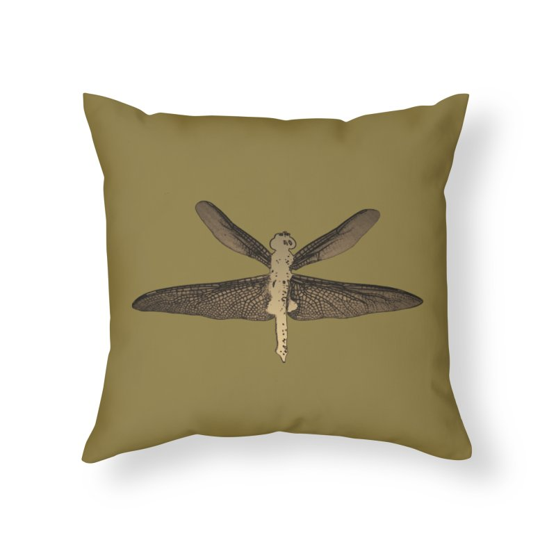 Dragonfly (Vintage) Home Throw Pillow by 7thSin Apparel