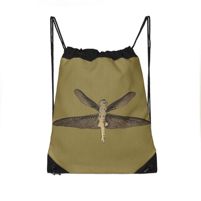 Dragonfly (Vintage) Accessories Drawstring Bag Bag by 7thSin Apparel