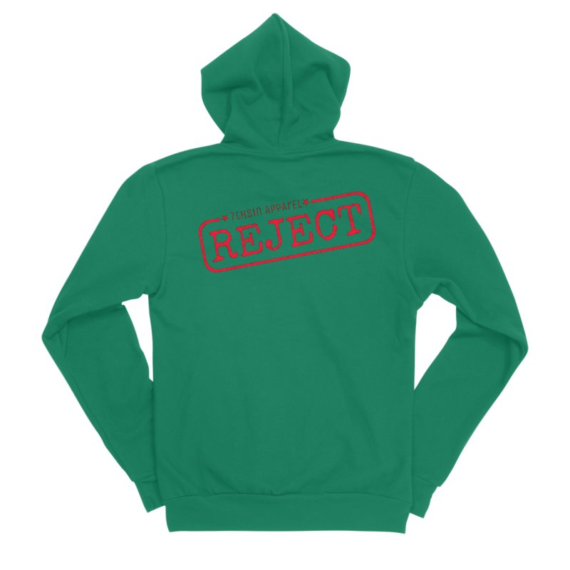 REJECT (7thSin logo) Men's Sponge Fleece Zip-Up Hoody by 7thSin Apparel